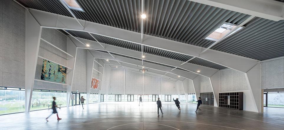 Interior view. Light flows into multi sports hall in Ørestaden