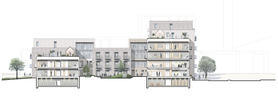 Cross-section of plan. Youth housing, Gellerup Denmark