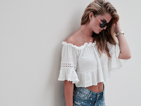 OFF SHOULDER BLOUSE - AN EVENING STROLL IN ITALY