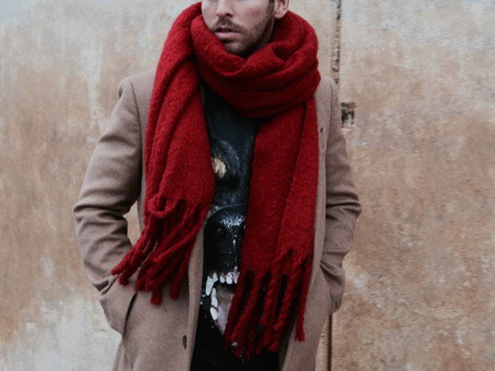 IT'S HIM: CAMEL COAT X LOUBOUTIN SNEAKERS X RED SCARF