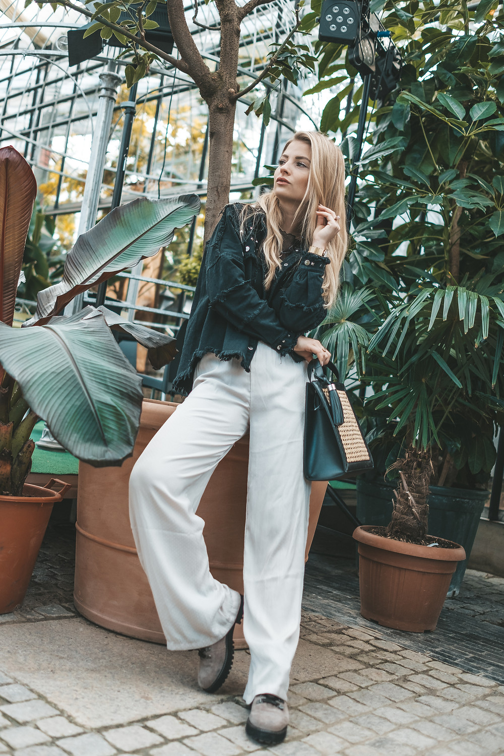 Palazzo pants vs. denim jacket