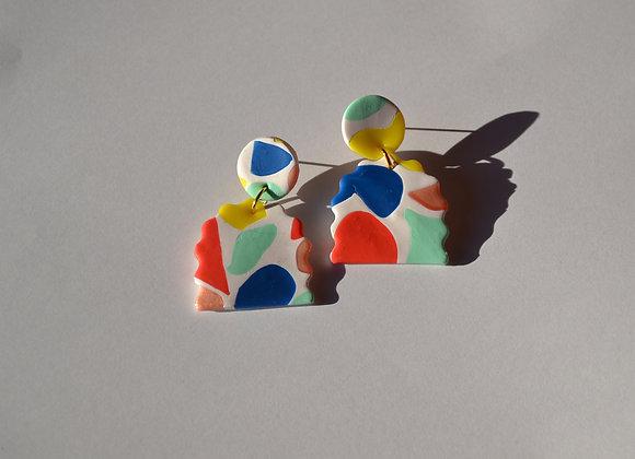 Rainbow terrazzo semi-circle earrings