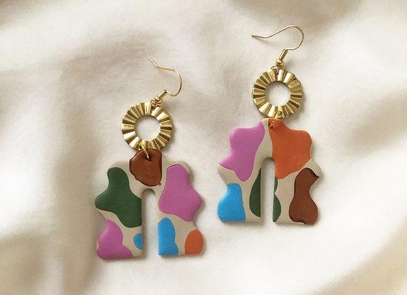 Mod Cow Print Dangle Earrings