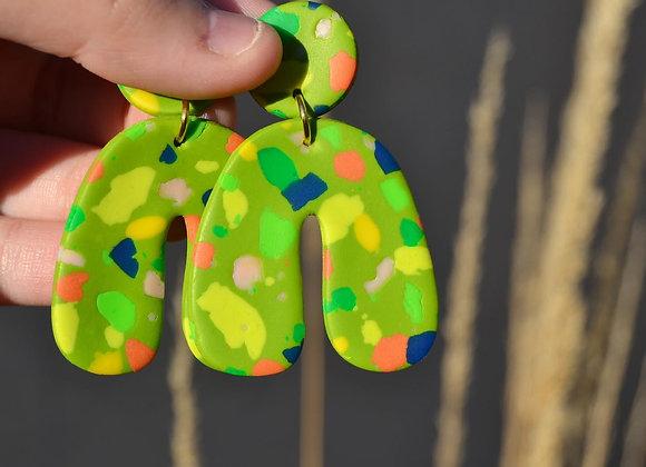 Funky moss green terrazzo earrings