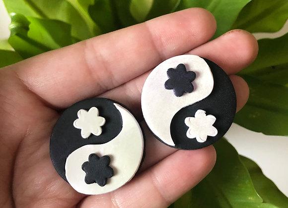 Iridescent yin yang floral studs