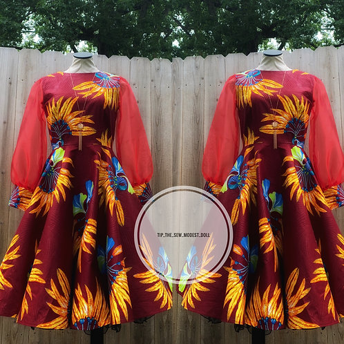 Ankara swing dress w/organza sleeves