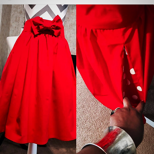 Midi skirt w/double knot bow