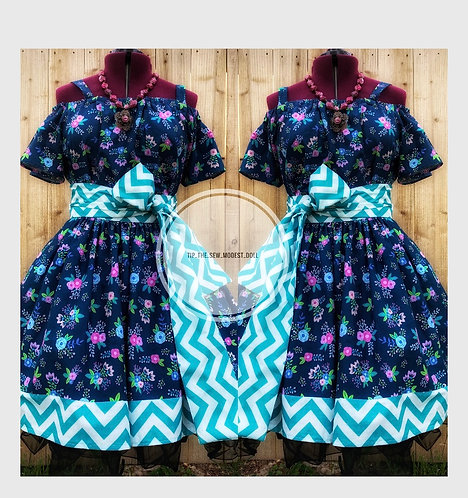Two piece floral and chevron set