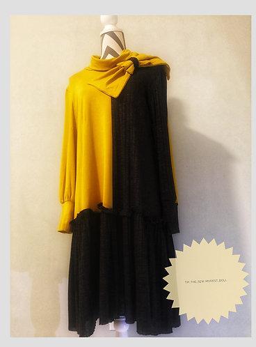 Color block double bow dress