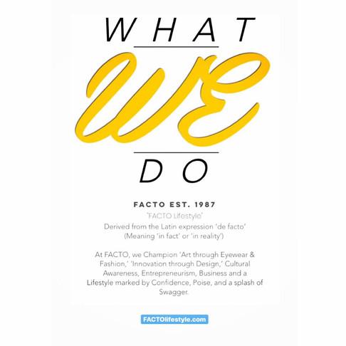 FACTO EST. 1987 & What We Do