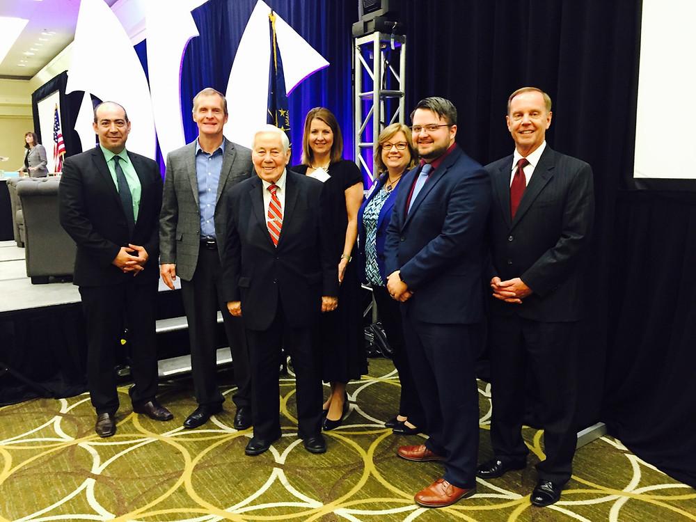 Pictured From L to R: Hicham Rahmouni, Steve Holman, Senator Lugar, Stephanie Laws, Diane Hanson, Daniel Hardesty, Dr. James Turner