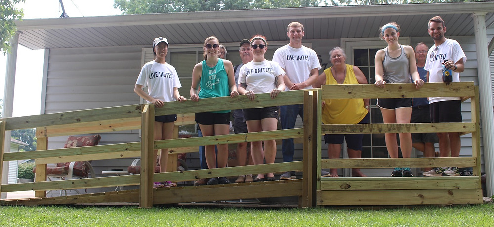 SHRP Students, SAWs Volunteers, and the ramp recipient