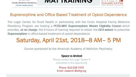 Lugar Center & UHFMR To Host Buprenorphine Training