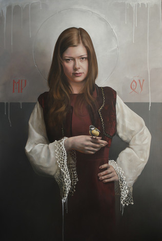 """MIRYAM WITH A BIRD""   Oil on canvas"