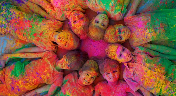 Children in Gulaal n Holi colours