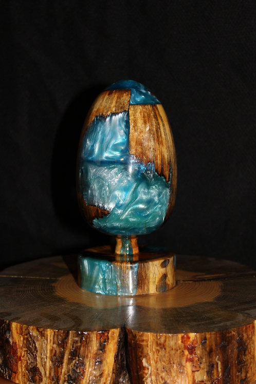 Wood and Resin Electric Blue/Turquoise Egg