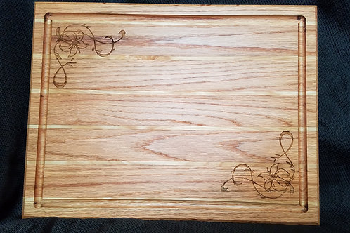 Engraved Oak and White Ash Cutting Board