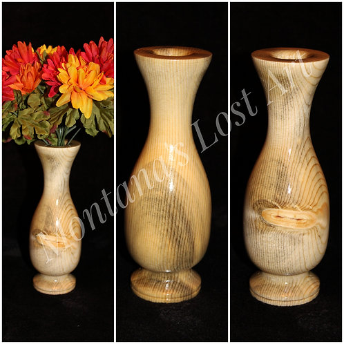 Wooden Vase with Faux Flower