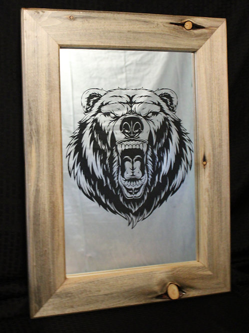 Etched Mirrors with Blue Pine Frame