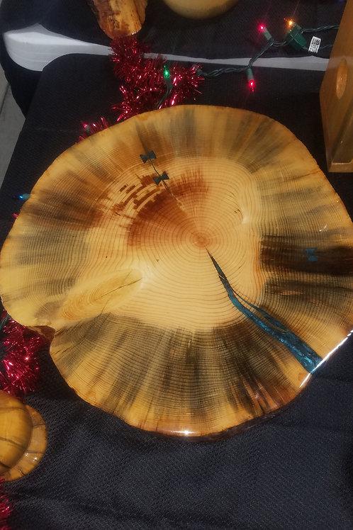 "18"" diameter lazy Susan Turntable centerpiece with bar top finish"