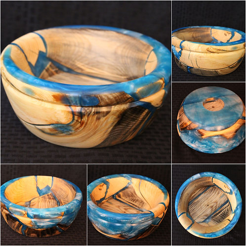 Metallic Blue Swirl Hybrid Bowl | Wooden Bowl | Resin and Wood | Home decor