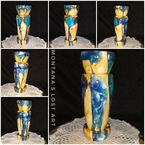 Blue Teal Swirl Vase | Luxurious Art | Unique One-off Vase | Stunning Decor