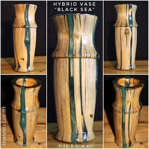 Hybrid Vase | Black Sea Vase | Resin and Wood | Home Decor