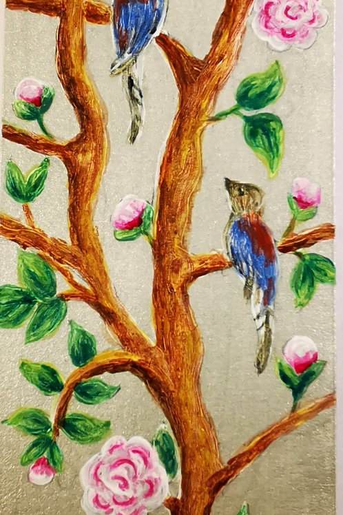 Chinoiserie with blue and red birds