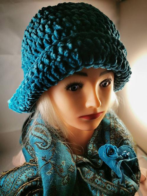 Turquoise Velvet knitted cloche hat