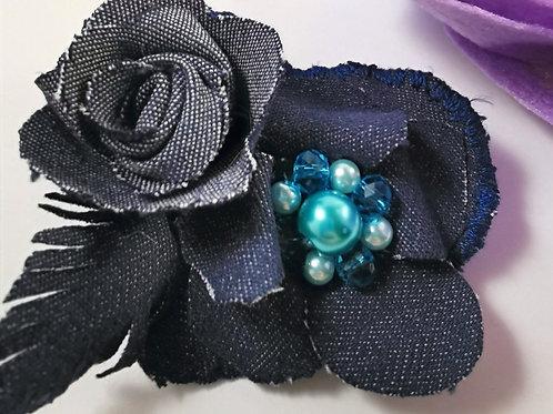 Dark Blue Denim Brooch