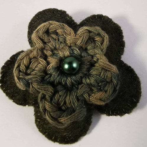 Forest green felt flower brooch with crocheted flower
