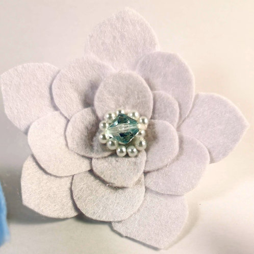 Ice White Felt Beaded Brooch