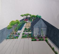 Perspective modern garden