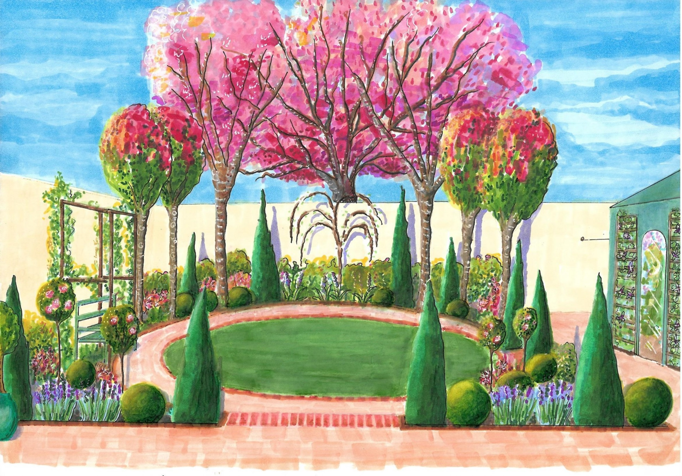 Perspective view of shallow garden