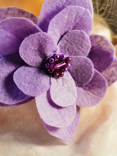 Lilac Flower Craft Felt beaded Brooch