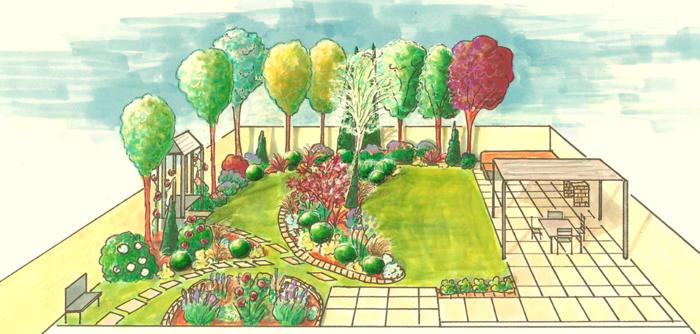 Child-friendly shallow garden