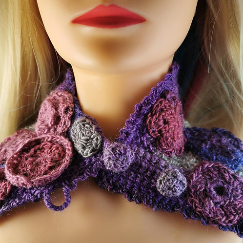 Colourful purple neckwarmer with pink and lilac flowers