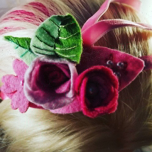 Pink satin headband with roses and beads