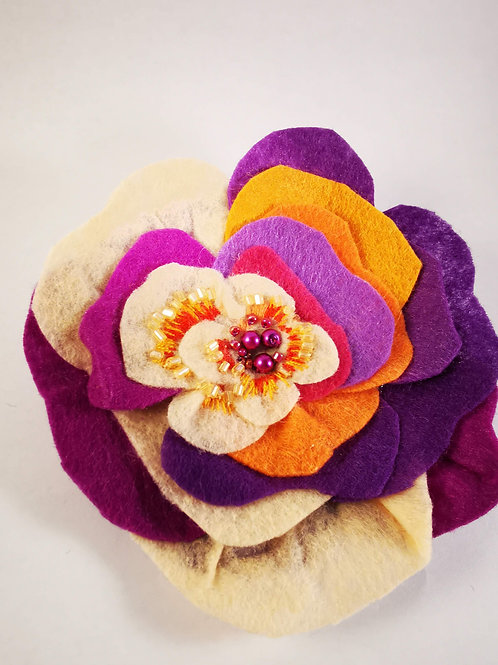 Large colourful pansy brooch