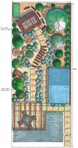 Long, narrow beach-style garden