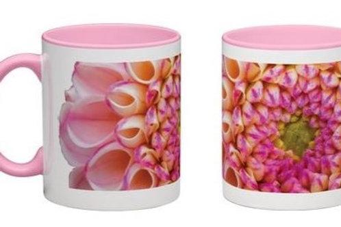 Zippity White mug with pink handle and interior