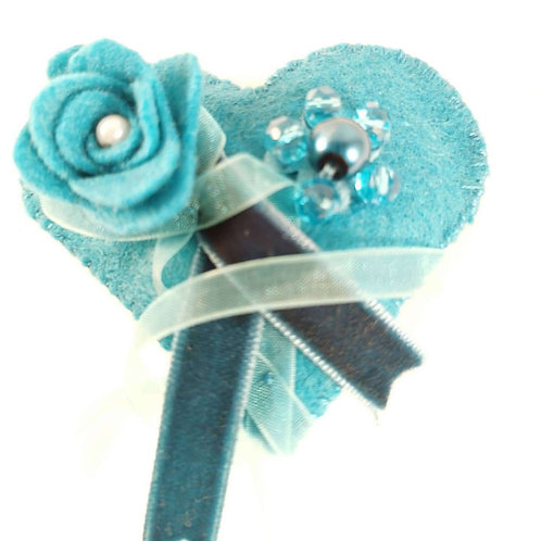 Teal brooch with teal ribbon