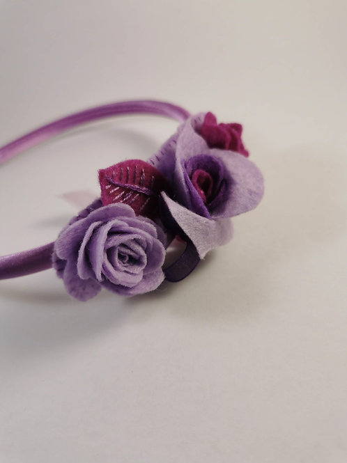 Lilac satin headband with roses and beads