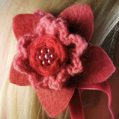 Deep pink felt flower hairclip with crocheted flower