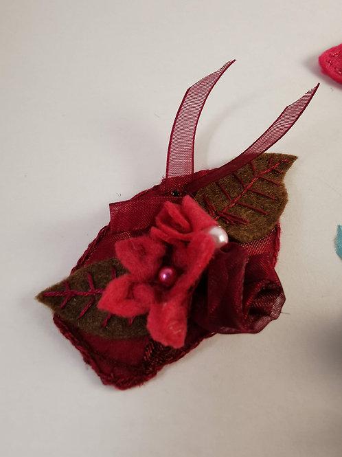 Wine-red craft felt hairclip