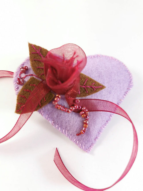 Lilac and burgundy brooch