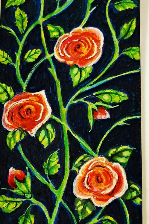 Red rose on navy