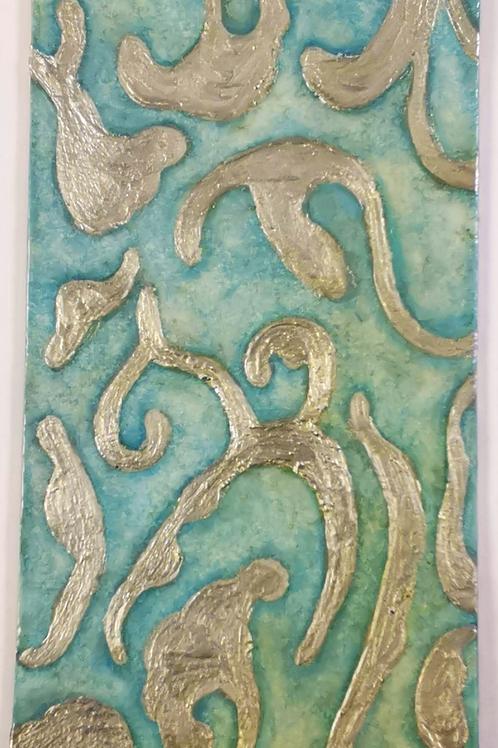 Silver fretwork on alabaster