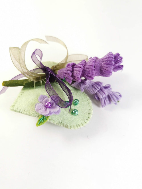 White and lavender brooch