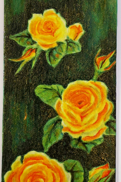 Yellow roses on green-black